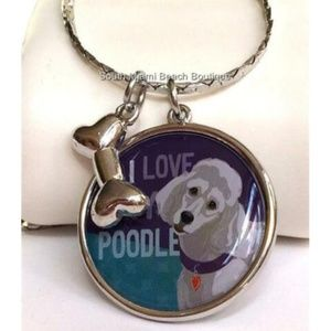 Jewelry - Silver Poodle Dog Necklace Breed Rescue Bone Charm